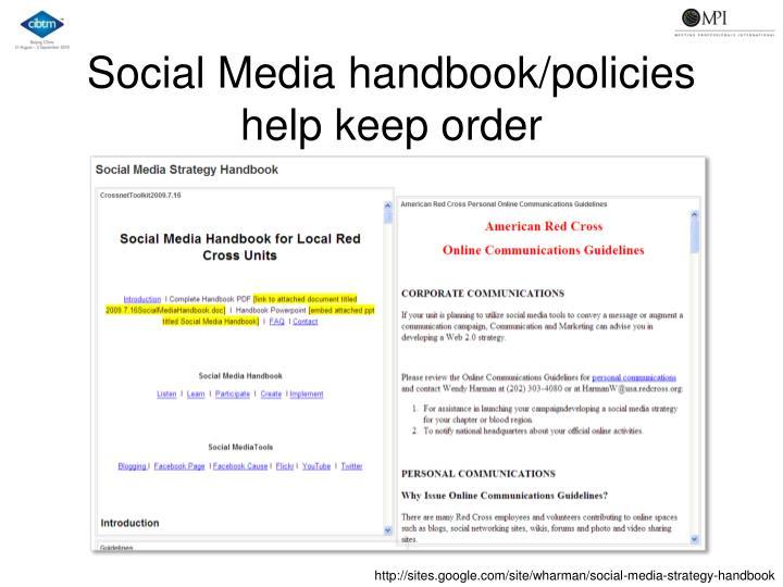 Social Media handbook/policies help keep order