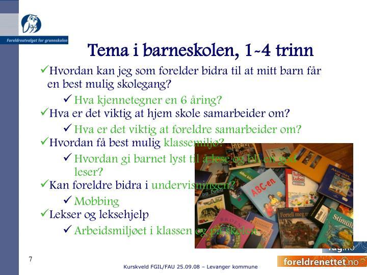 Tema i barneskolen, 1-4 trinn
