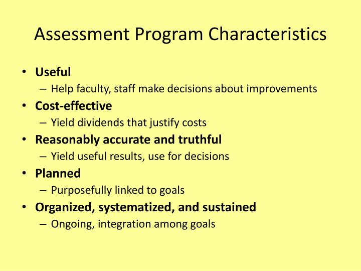 Assessment Program Characteristics