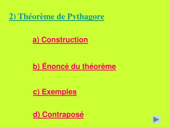 2) Théorème de Pythagore
