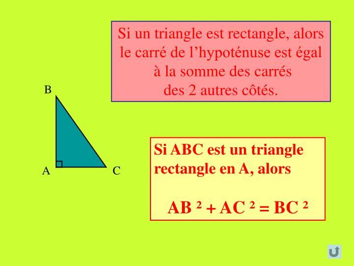 Si un triangle est rectangle, alors