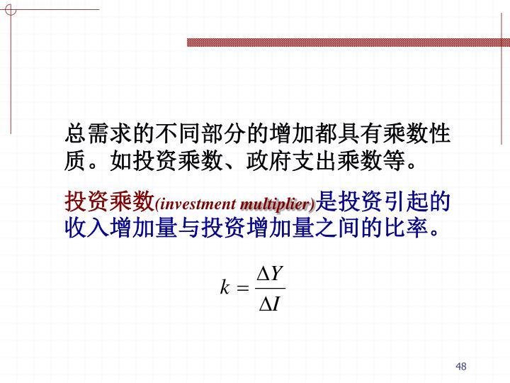 总需求的不同部分的增加都具有乘数性质。如投资乘数、政府支出乘数等。