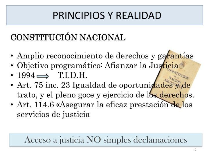 PRINCIPIOS Y REALIDAD