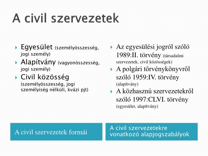 A civil szervezetek