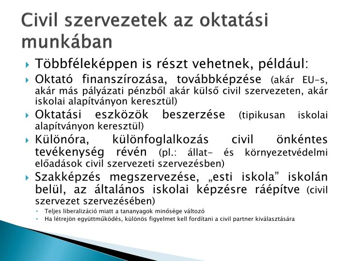 Civil szervezetek az oktatási munkában