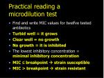 practical reading a microdilution test