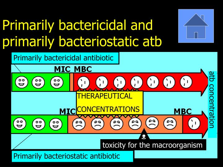 Primarily bactericidal and primarily bacteriostatic atb