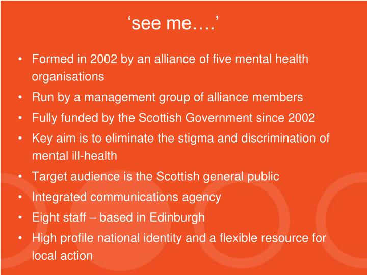 Formed in 2002 by an alliance of five mental health organisations