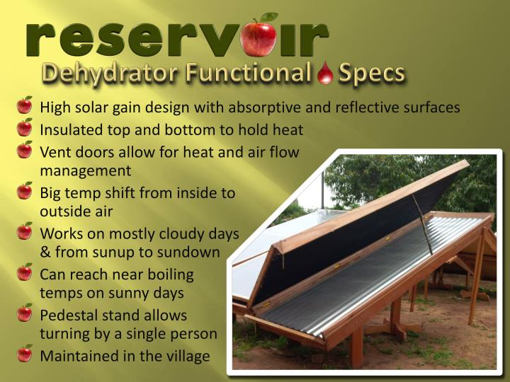Dehydrator Functional    Specs