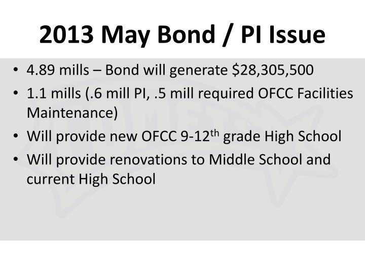 2013 May Bond / PI Issue