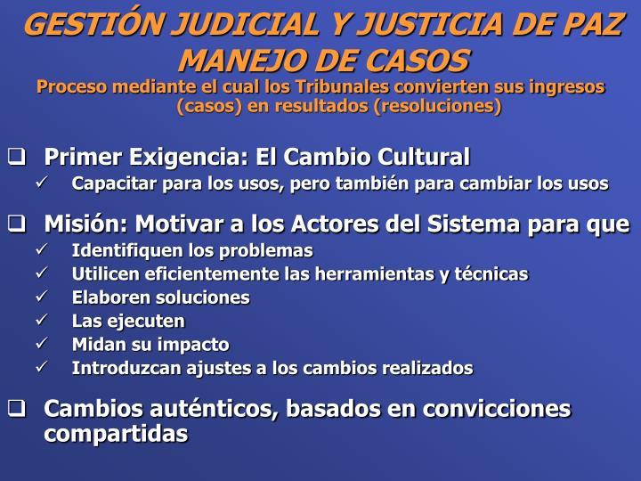 Proceso mediante el cual los Tribunales convierten sus ingresos (casos) en resultados (resoluciones)