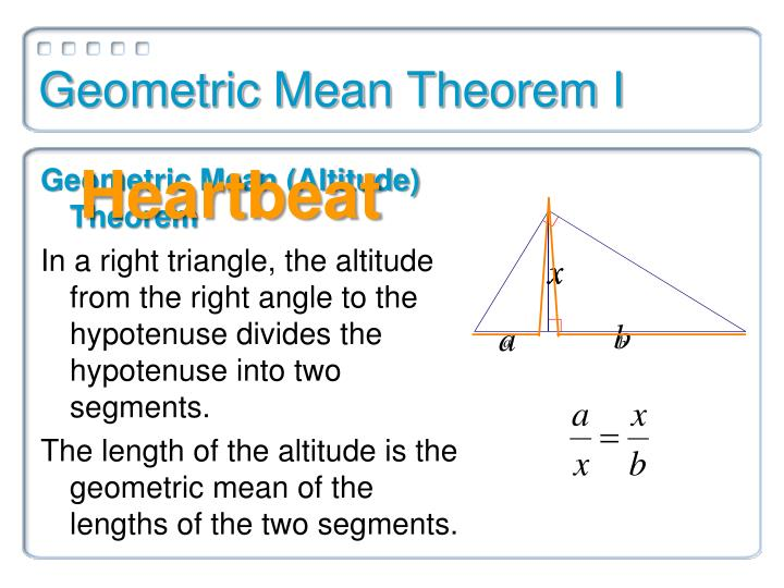 Geometric mean theorem i
