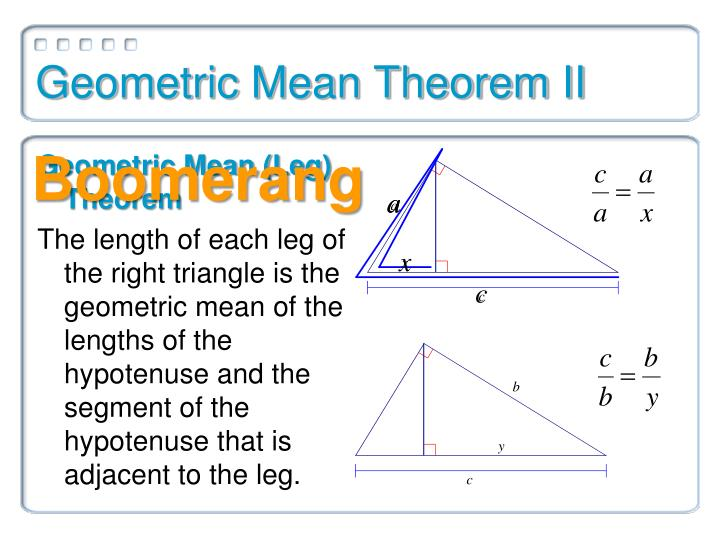 Geometric mean theorem ii1