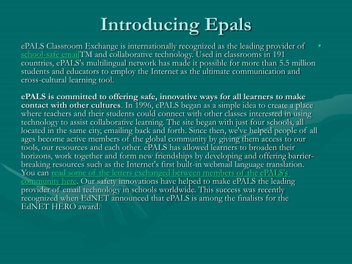 Introducing Epals