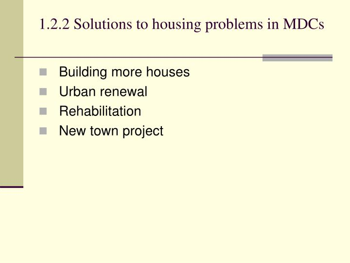 1.2.2Solutions to housing problems in MDCs