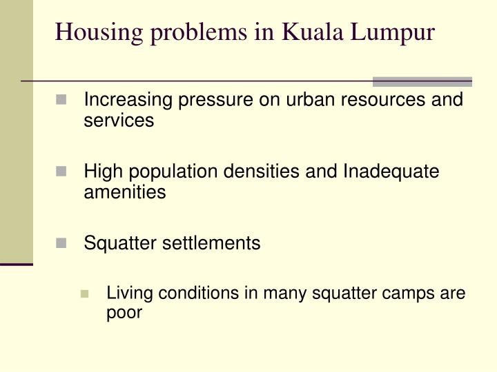 Housing problems in Kuala Lumpur