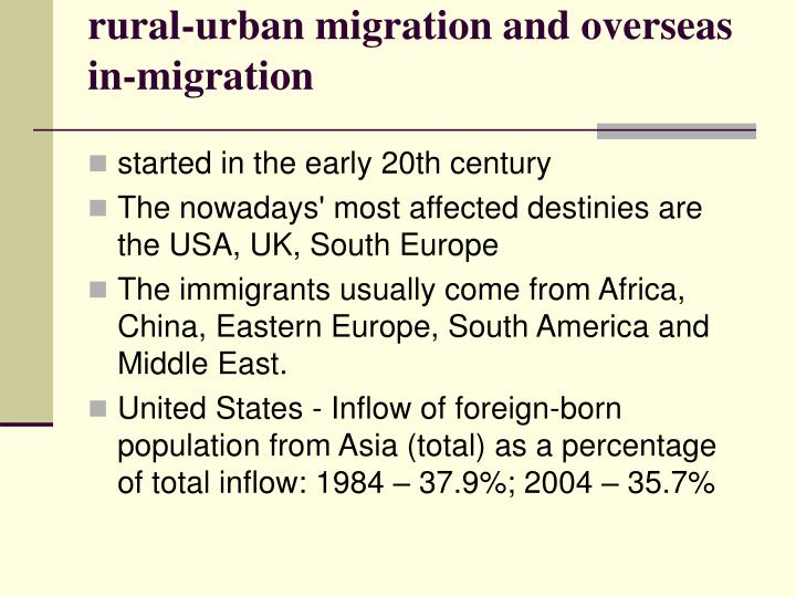 rural-urban migration and overseas in-migration