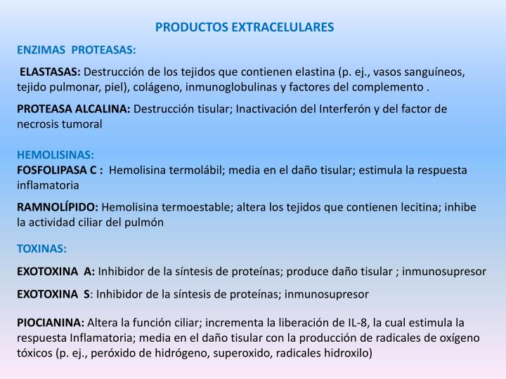 PRODUCTOS EXTRACELULARES