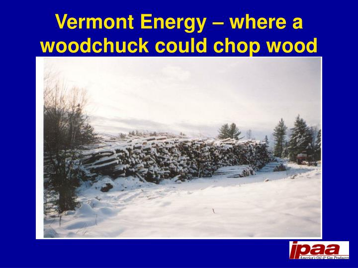 Vermont Energy – where a woodchuck could chop wood