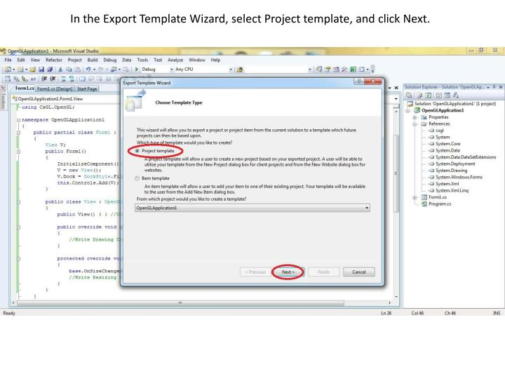 In the Export Template Wizard, select Project template, and click Next.