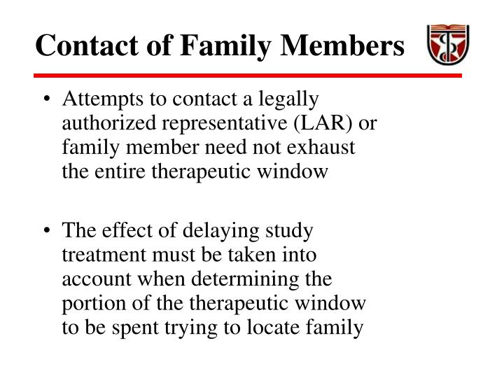 Contact of Family Members