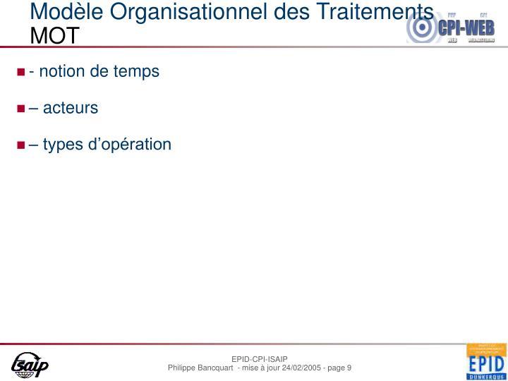 Modèle Organisationnel des Traitements