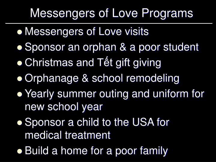 Messengers of Love Programs