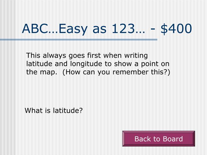ABC…Easy as 123… - $400