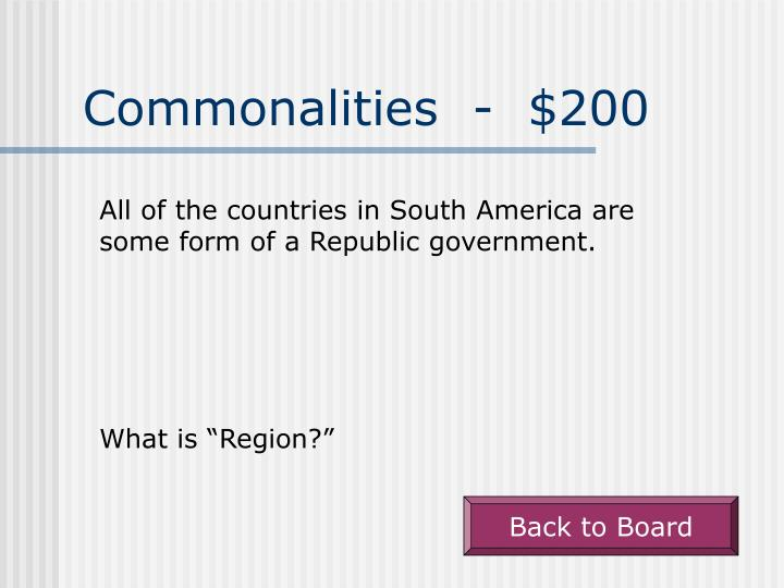 Commonalities  -  $200