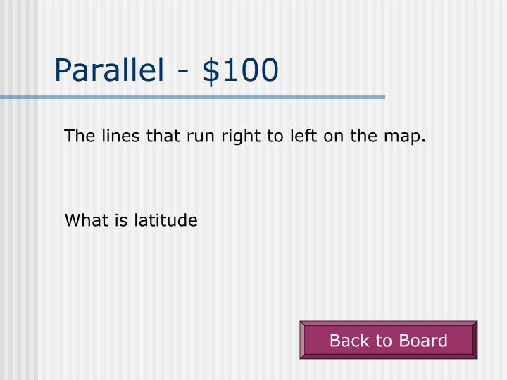 Parallel - $100