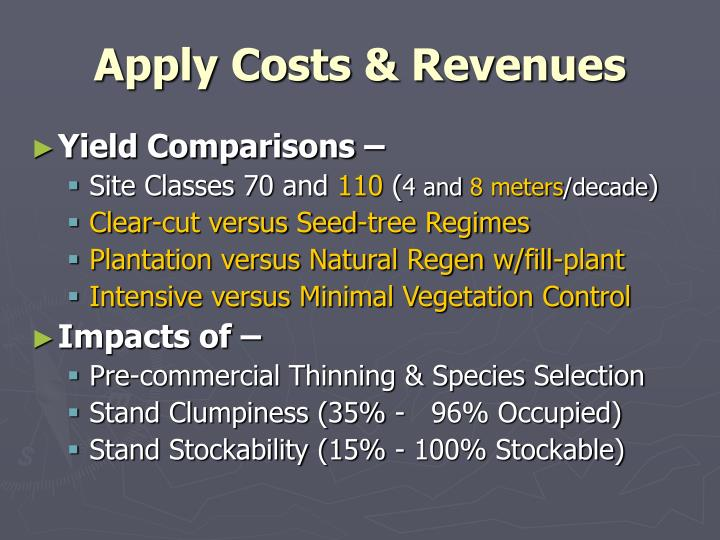 Apply Costs & Revenues