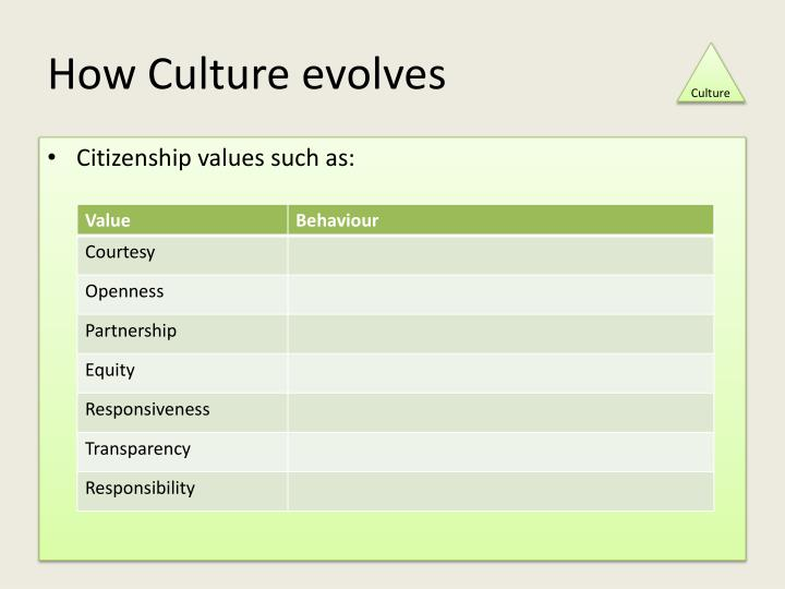 How Culture evolves