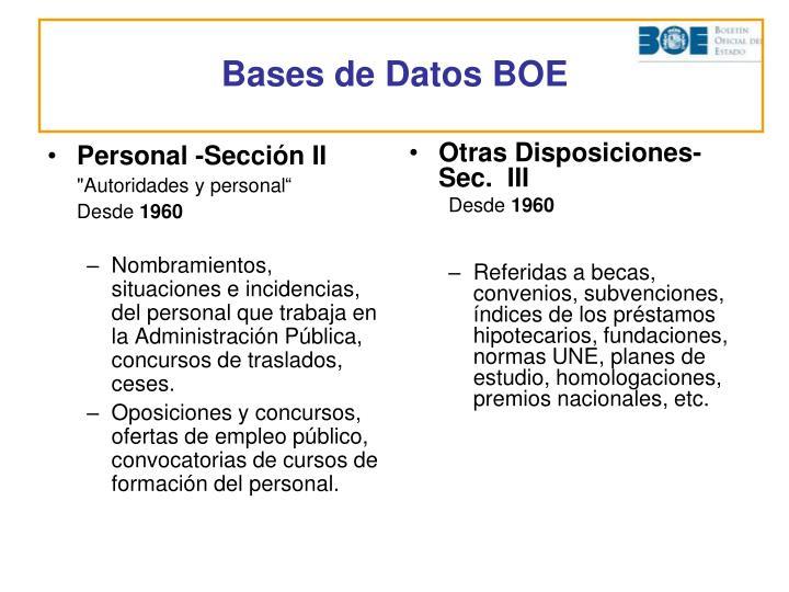 Personal -Sección II