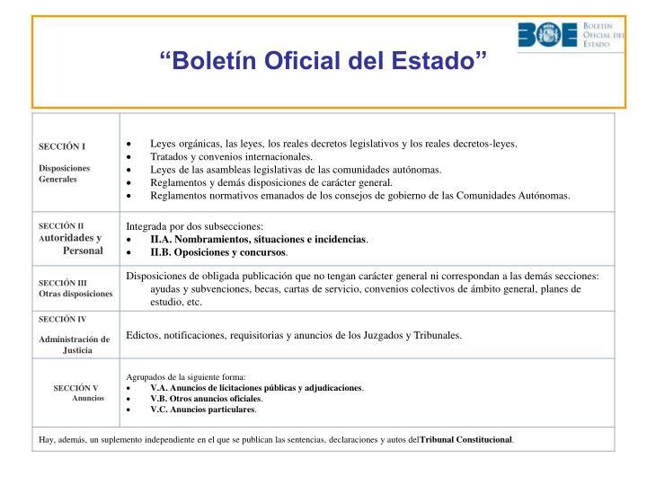 """""""Boletín Oficial del Estado"""""""
