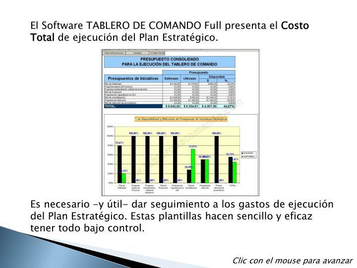 El Software TABLERO DE COMANDO Full presenta el