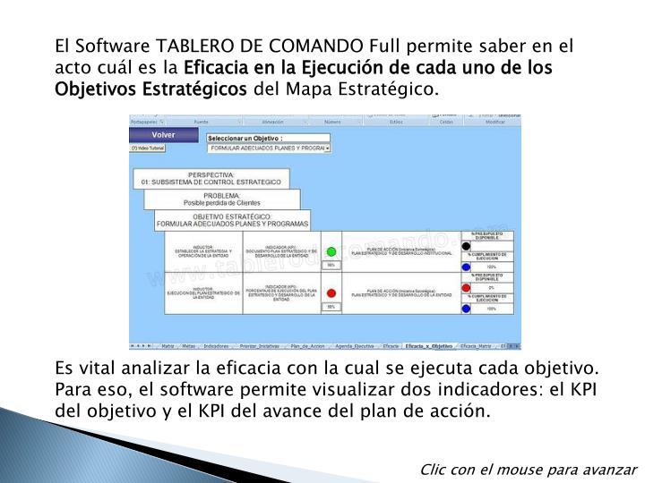 El Software TABLERO DE COMANDO Full permite saber en el acto cuál es la