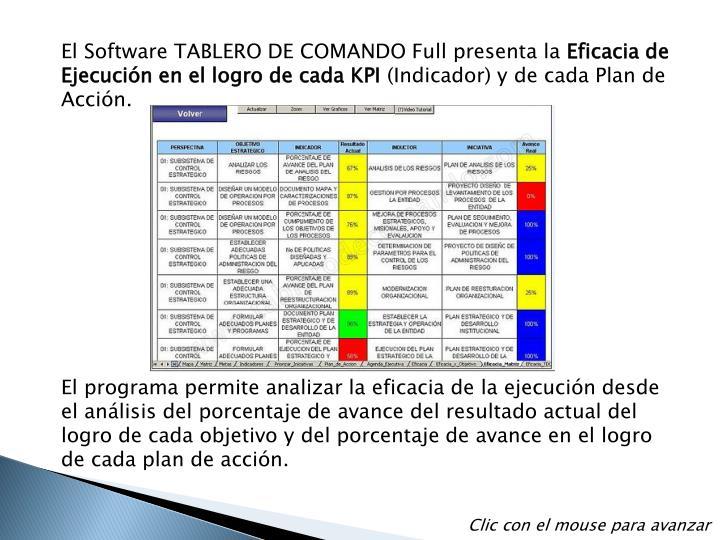 El Software TABLERO DE COMANDO Full presenta la