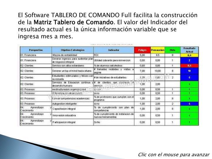 El Software TABLERO DE COMANDO Full facilita la construcción de la