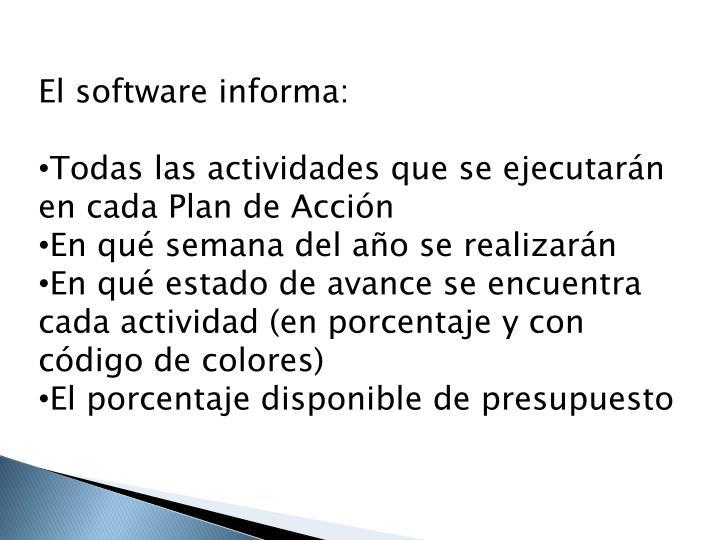 El software informa: