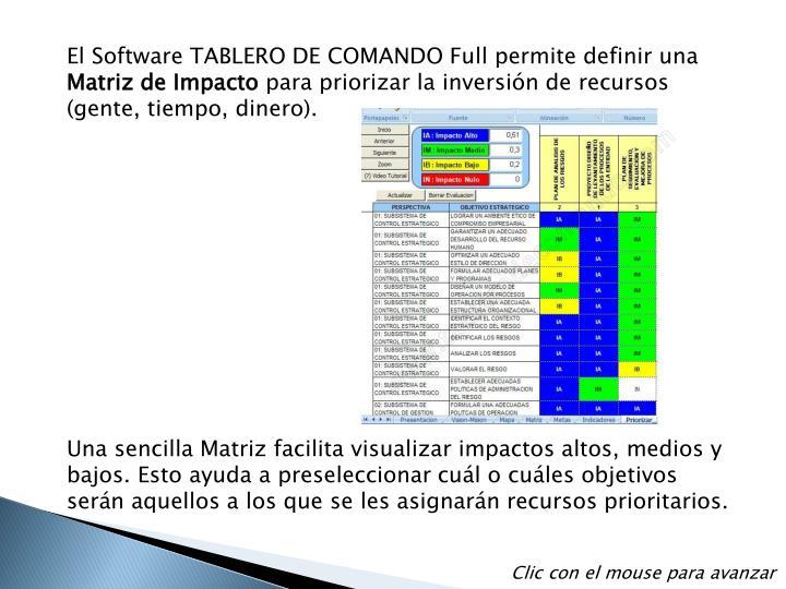 El Software TABLERO DE COMANDO Full permite definir una