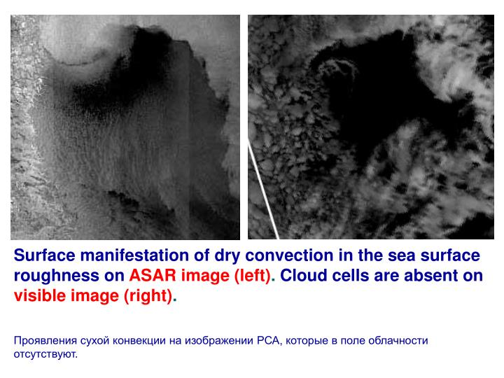 Surface manifestation of dry convection in the sea surface