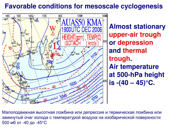 Favorable conditions for mesoscale cyclogenesis