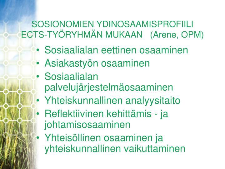SOSIONOMIEN YDINOSAAMISPROFIILI
