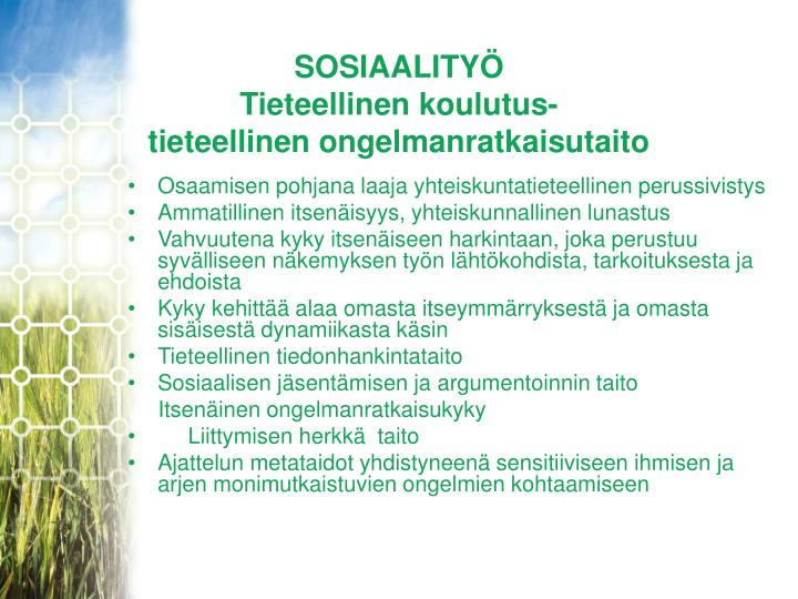 SOSIAALITYÖ