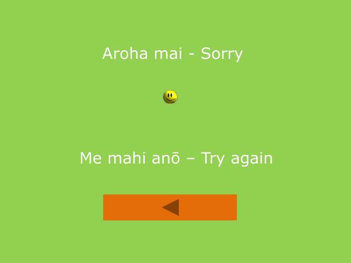 Aroha mai - Sorry