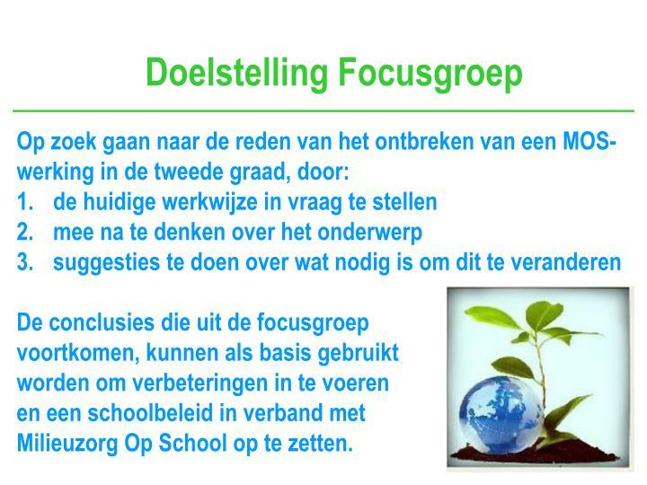 Doelstelling Focusgroep