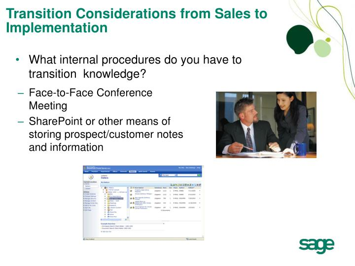 Transition Considerations from Sales to Implementation