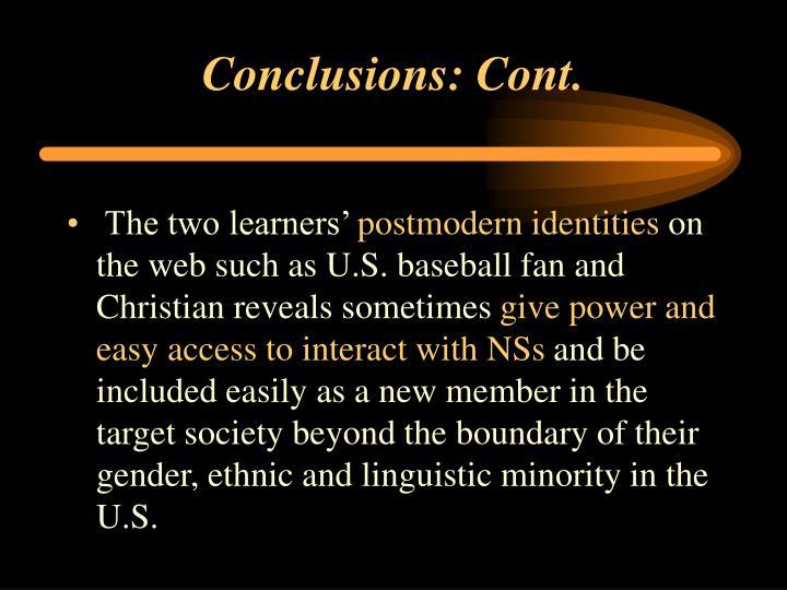 Conclusions: Cont.