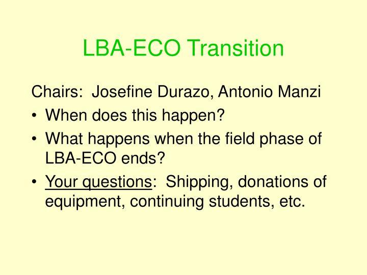 LBA-ECO Transition