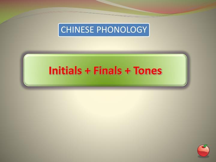 Initials + Finals + Tones